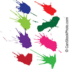 Colorful isolated ink blots with messy drops
