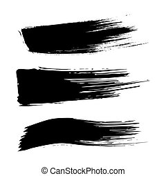 Set of ink brush stroke vector stains. Grunge Paint stripe. Distressed banner . Black isolated paintbrush collection .