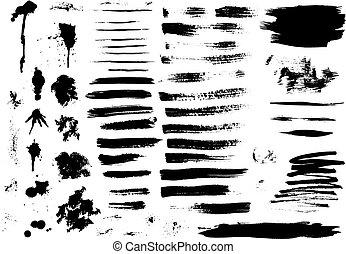 Set of ink hand drawn brush strokes