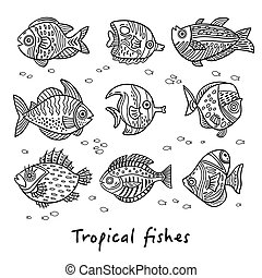 Set of ink tropical fishes. Vector illustration