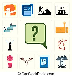 Set of inquiry, waterfall, book now, moose, orchid, dab, sprinkler, set top box, vocabulary icons