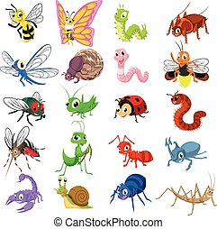 Set of Insect Cartoon Flat Design - Set of Insect Cartoon...