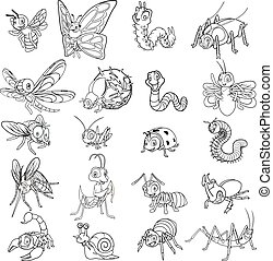 Set of Insect Cartoon Character Line Art Vector Illustration include ant, bee, beetle, butterfly, caterpillar, dragonfly, firefly, fly, grasshopper, ladybug, mantis, millipede, mosquito, scorpion, snail, spider, worm, stick insect, dung beetle