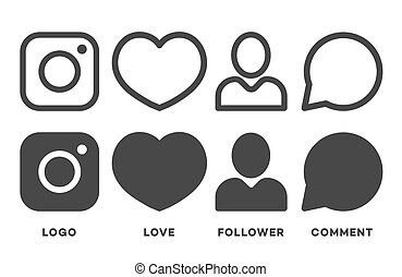 Set of instagram icon black color isolated on white background for your social media app design project. Vector social network icons. Vector Illustration
