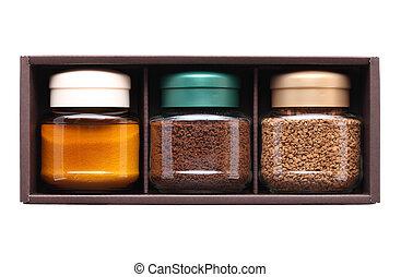 instant coffee in glass jar