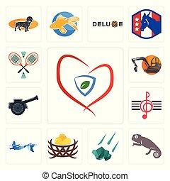 Set of insurance, chameleon, meteorite, bird nest, mermaid, treble clef, cannon, digger, badminton icons