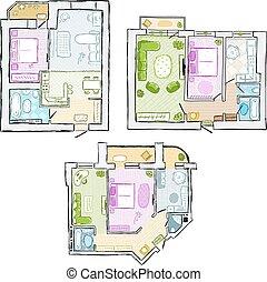 Set of interior apartment, sketch for your design