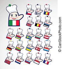 Set of international chefs icons