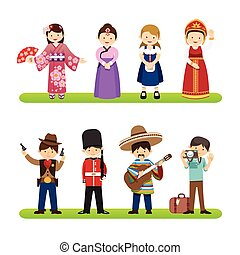 Set of international people isolated on white background. nationalities dress korea, japan, mexico, usa styles. flat design cartoon style. vector Illustration