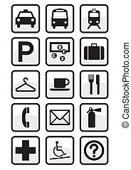 Set of international service signs.