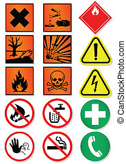Vector illustration set of different laboratory associated international signs. All vector objects and details are isolated and grouped. Colors, shadow and transparent background color are easy to remove or customize. Symbols are replaceable.