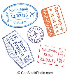 Set of International travel visa stamps isolated on white. Arrivals signs rubber stamps.
