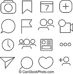 Set of Internet icons. Line, outline style. Vector image ...