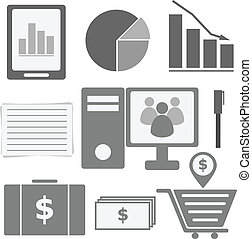 Set of internet investor at home icons