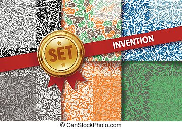 Set of invention backgrounds with doodle icons in different colors