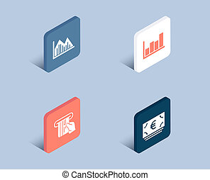 Investment graph, Report diagram and Credit card icons. Euro currency sign.