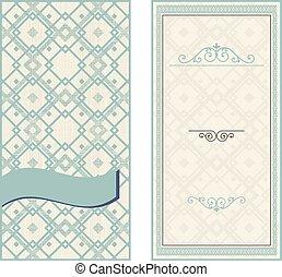 set of invitation cards on vintage