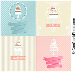 Set of invitation designs with cakes