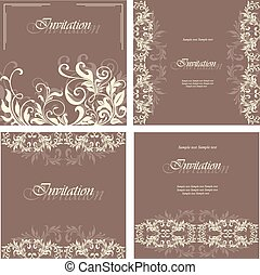 Set of invitation floral cards
