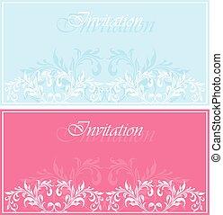 Set of invitation vintage cards