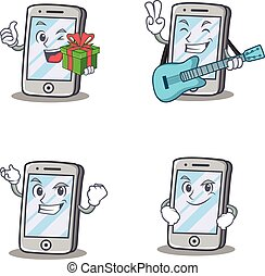 Set of iPhone character with gift guitar smirking