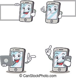 Set of iPhone character with pose board laptop phone