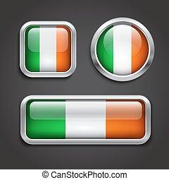 Ireland flag glass buttons