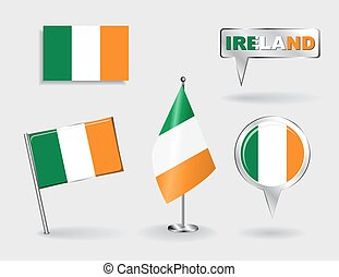 Set of Irish pin, icon and map pointer flags. Vector