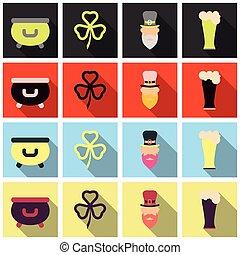 Set of Irish symbols St. Patrick day icons with shadow. Flet icons