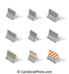 Set of iron concrete road barriers in 3D, vector...