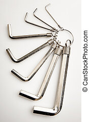 set of iron metal allen keys isolated with clipping path