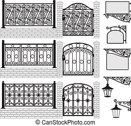 Set of iron wrought fences, gates, signboards and lanterns with decorative ornaments. Vector illustration.