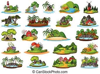 Set of island nature landscape