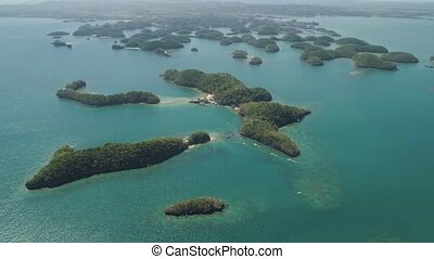 Set of islands in sea. Philippines. - Aerial view of Small...