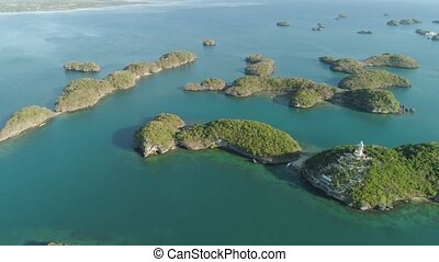 Set of islands in sea. Philippines. - Small islands in...
