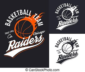 Set of isolated basketball logo for Chicago team