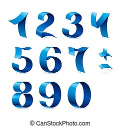 Set of isolated blue color shiny ribbon numbers on white background