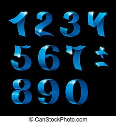 Set of isolated blue color shiny ribbon numbers with sparkles on black background