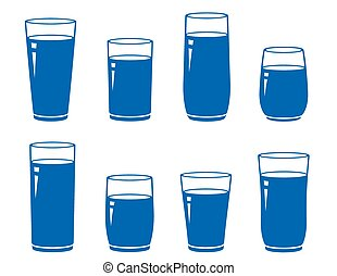 set of isolated blue water glass on white background
