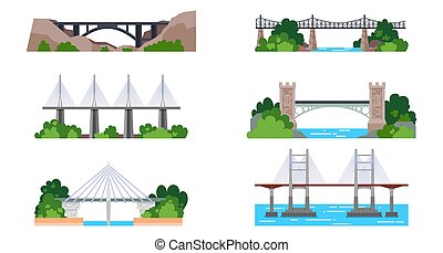 Set of isolated bridge icons. Iron and stone arch