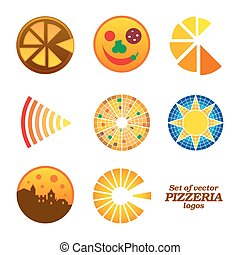 Set of isolated brown and orange round pizzeria logos on white background