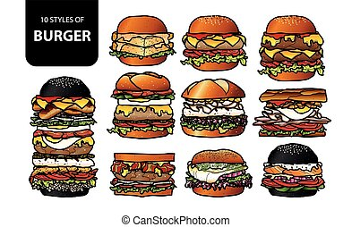 Set of isolated burger (beef, pork, fish, chicken, sausage, and shrimp) in 10 styles, Cute hand drawn food vector illustration in colorful and black outline.