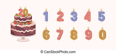 Set of isolated burning number shaped candles for celebration. Birthday chocolate cake for anniversary and candles for each year flat vector illustration on light background.