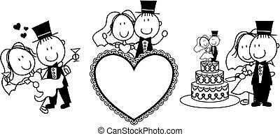 wedding invitation - set of isolated cartoon couple scenes, ...
