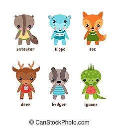 Set of isolated cartoon kid of animals - Cartoon smiling...