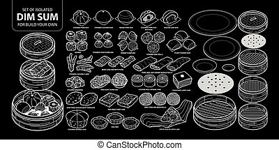 Set of isolated Chinese food, Dim Sum for build your own. Cute hand drawn food vector illustration only white outline.