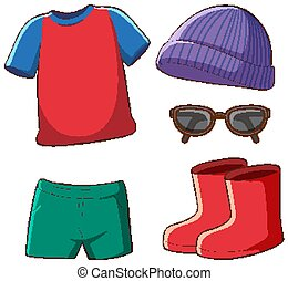 Set of isolated clothes