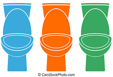 set of isolated colorful toilet