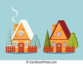 Set of isolated country farm red brick winter and summer houses with fences in flat cartoon style.