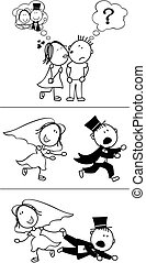 runaway groom - set of isolated couple cartoon, runaway ...